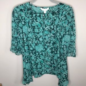 Lauren Conrad 3/4 Sleeve Multi Color Shirt